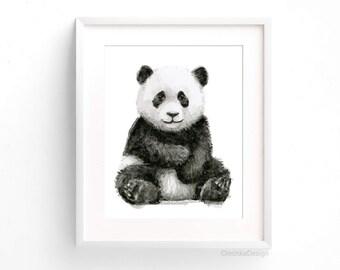 Baby Panda Watercolor Panda Art Print Panda Nursery Wall Art Panda Decor Baby Animals Jungle Safari Animals Black and White Art Print