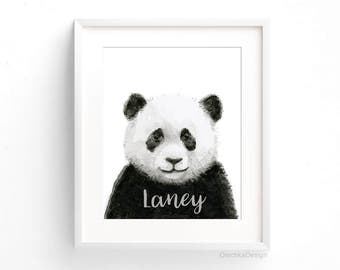 Custom Nursery Art Print Customized Panda Watercolor Baby Animal Nursery Decor Baby Name Wall Art Safari Jungle Animal Prints Baby Shower