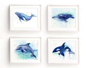 Whale Print, Dolphin Print, Whale Art, Nursery Wall Art, Sea Creatures Art, Animal Watercolor, Print Set, Humpback Whale Print, Orca Art