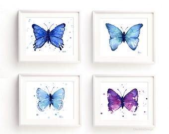 Butterfly Art Print Set, Butterflies Print, Butterfly Print, Blue Butterfly, Nursery Butterfly, Purple Butterfly, Home Decor, Set of 4 Print