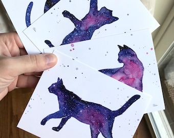 Cat Postcards, Galaxy Forest Art, Postcard Set, Galaxy Cards, Cat Cards, Cat Lover Gift, Space Cats, Watercolor Postcards, Set of 4 Cards