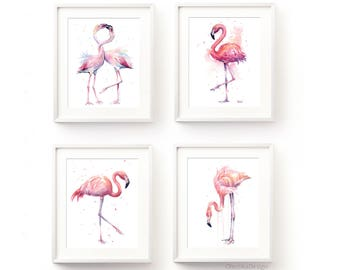 Pink Flamingo Watercolor, Flamingo Print, Flamingo Wall Art, Flamingo Home Decor, Pink Flamingo Painting, Bird Prints, Set of 4 Prints