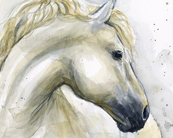 Horse Watercolor Painting Horse Art Print Horse Illustration Horse Painting White Horse Artwork, Horse Lovers Art, Animal Watercolor