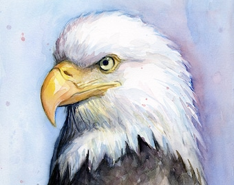Bald Eagle Painting Watercolor Portrait, Eagle Painting, Eagle Art, Bird Art, Animal Watercolor, Wildlife Painting, Eagle Print
