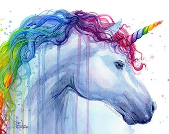 Rainbow Unicorn Print Watercolor Art Print Unicorn Print Unicorn Art Rainbow Watercolor, Nursery Art Unicorn Painting Unicorn Watercolor