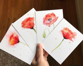 Watercolor card etsy poppy flower postcards set poppies watercolor cards floral cards beautiful art print cards watercolor poppies abstract poppy art set of 4 m4hsunfo