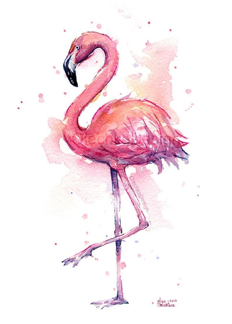 Rosa fenicottero pittura ad acquerello fenicottero Stampa  a33cbd7f7409