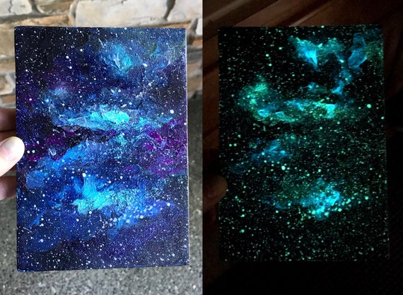 galaxy painting glow in the dark painting canvas art cosmos etsy