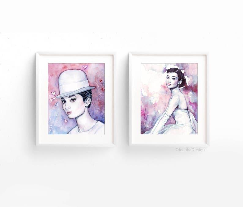 Ritratto di Audrey Hepburn Audrey Watercolor arte della  784c558ade24
