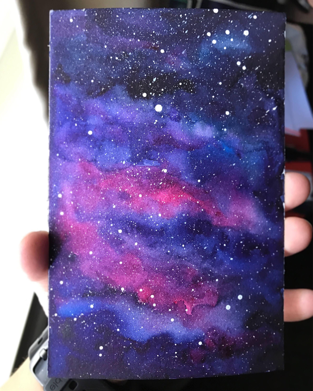 galaxy watercolor nebula watercolor original painting galaxy etsy