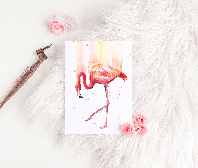 Pink Flamingo parete arte Flamingo acquerello Home Decor  8492d9392850