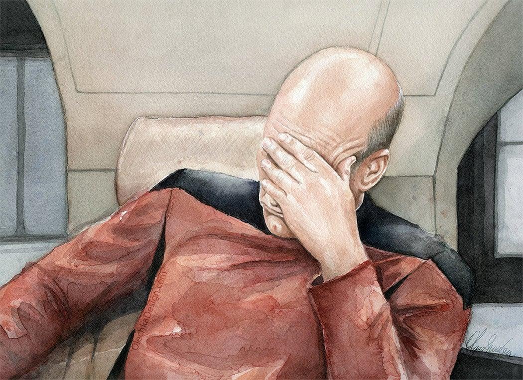 Picard Facepalm Meme Watercolor, Star Trek Art, Picard Print, Meme Art,  Sci-Fi Painting, Captain Picard, Portrait, Funny Geek Wall Art