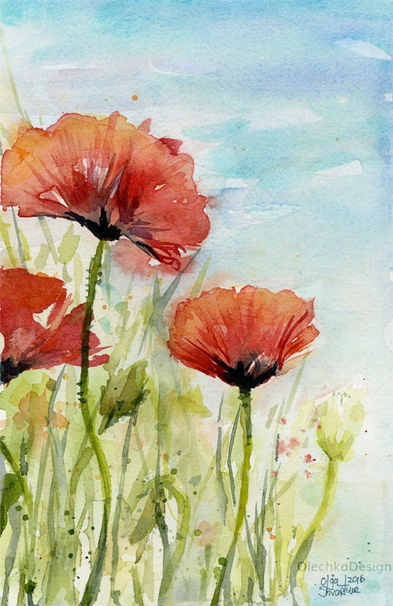 Poppy wall art red poppies watercolor poppies art print red etsy image 0 mightylinksfo