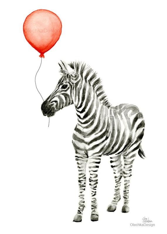 Baby Tiere Mit Ballons Kunstdrucke Dschungel Safari Tiere Kinderzimmer Wand Dekor Tier Aquarell Drucke Elefant Panda Zebra Set Von 3 Drucke