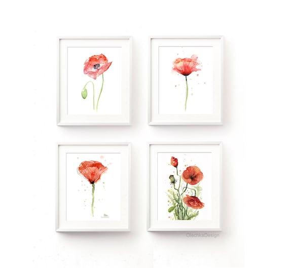 Poppies Watercolor Poppy Print Poppies Prints Red Poppy | Etsy