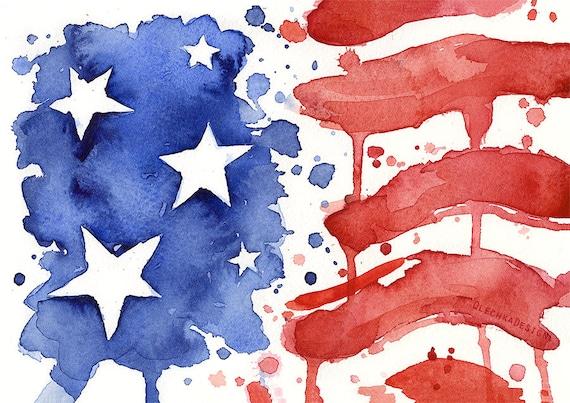 Drapeau de drapeau américain impression dArt de peinture   Etsy