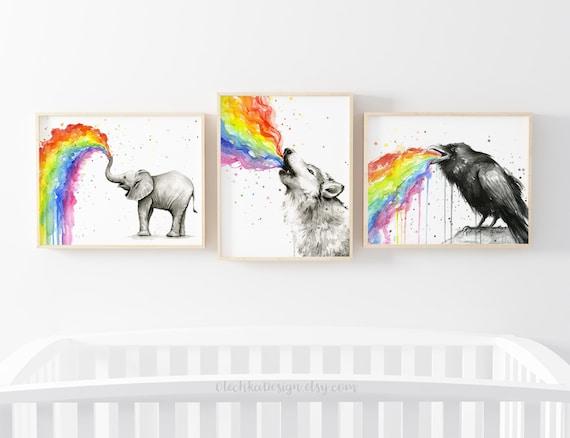 Elephant Art Watercolor Painting Print African Art Geek Kids Animal Wall Art