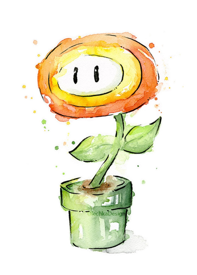 Fleur Aquarelle Art Print Nintendo Mario Bros Peinture Jeu Etsy