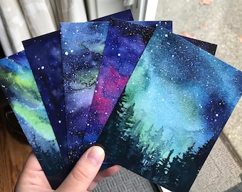 Galaxy Watercolor Postcards - Set of 5 - Nebula Art Aurora Northern Lights Painting Art Postcards Colorful Cards Space Stars Sky Prints