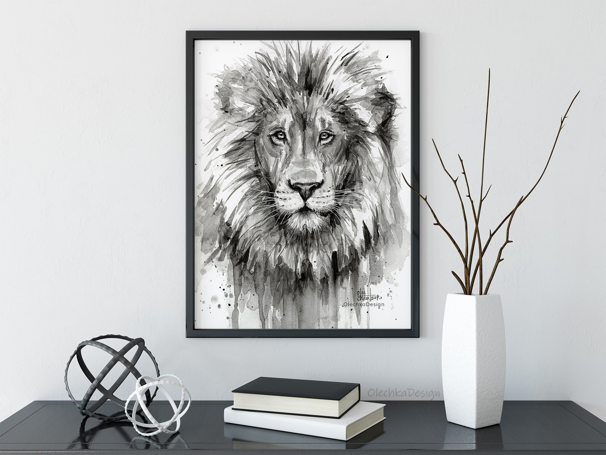Lion art lion art print lion wall art jungle animal safari animal art nursery wall art lion painting lion watercolor giclee print