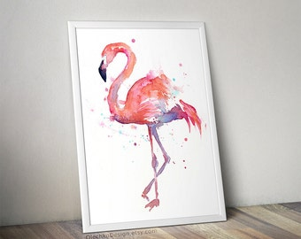 Flamingo Watercolor Painting, Flamingo Art Print, Flamingo Wall Art, Bird Animal Wall Art, Flamingo Home Decor, Tropical Pink Flamingo Art