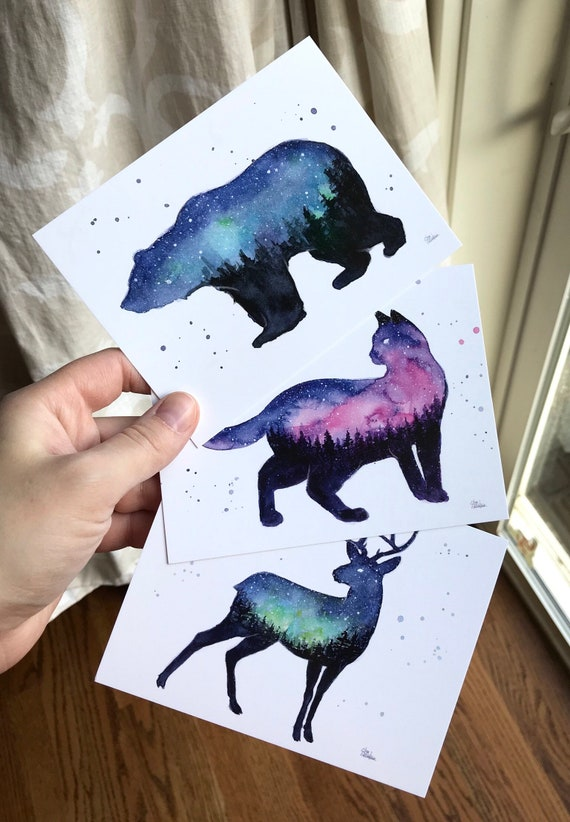 Postcards Galaxy Animals Galaxy Forest Cat Bear Reindeer Postcard Set Galaxy Cards Galaxy Gifts Space Gift Watercolor Art 3 Cards