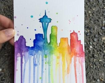 Seattle Rainbow Watercolor, Seattle Skyline, Seattle Space Needle, Seattle Art, PNW, Rainbow Skyline 5x7