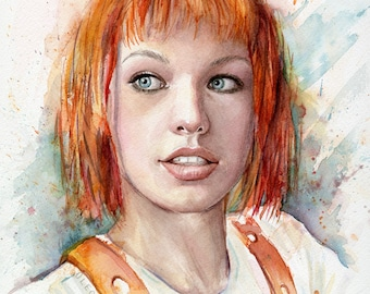 Leeloo Portrait Art Print Multipass Fifth Element Wall Art Leeloo Print Leeloo Watercolor Painting, Leeloo Home Decor Sci-Fi Fan Art Giclee