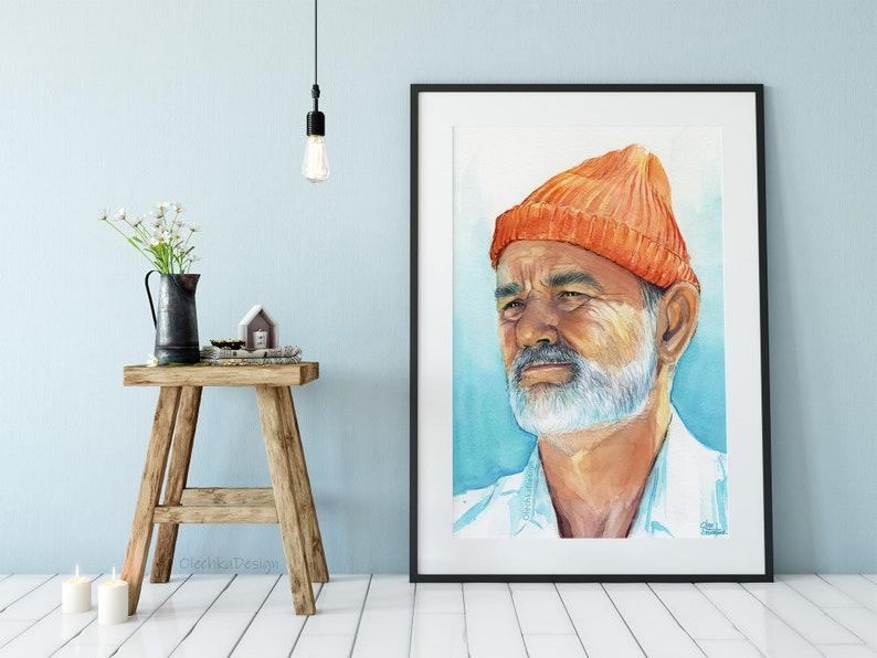 e46d56a8690f1 Steve Zissou Art Print Bill Murray Art Life Aquatic Art