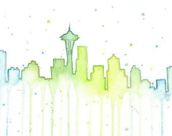 Seattle Skyline Watercolor, Seattle Silhouette Painting, Seattle Art Print, Space Needle 12th Man Art