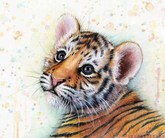 Tigre cachorro bebé vivero animales arte Tiger acuarela bebé