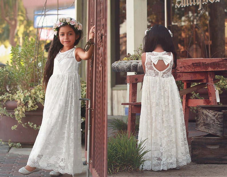 fc2f4dcb64 Ready to Ship White Lace Keyhole Sweetheart Dress Flower