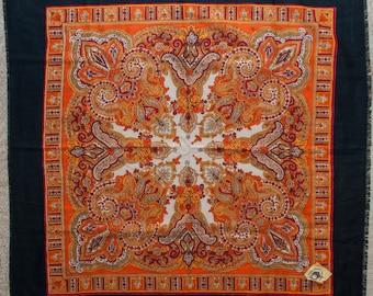 07b726a0391b Vintage Russian shawl. Ukrainian Hustka Babushka. Black with gold Platok  Turkish ornament Scarf. Ethnic Foulard ethnique. Abstract ornaments