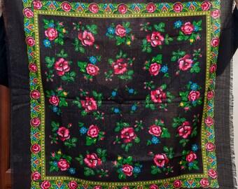 968d436cfa77 Black Ukrainian Hustka. Platok Babushka. Ethnic wool Scarf. Shawl with  lurex chale russe. Black Lurex scarf of roses