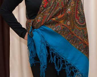 cba50ebe8c80 Russian shawl. Ukrainian Hustka. Blue Platok. Folk Scarf. Ethnic Babushka.  SHAWL abstract chale russe scialle fiori, manton foulard ethnique