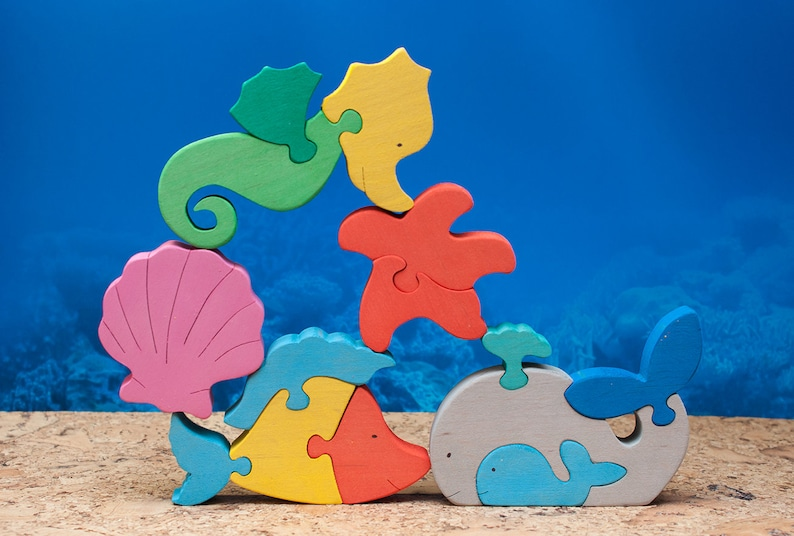Wooden puzzle for kids. Nursery decor. Wooden animals wooden image 0