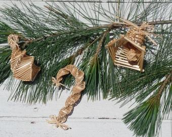 Wheat Christmas Ornaments, Wheat weaving, wheat ornament, wheat decoration, wheat decor, holiday decor, holiday ornament, folk art ornaments