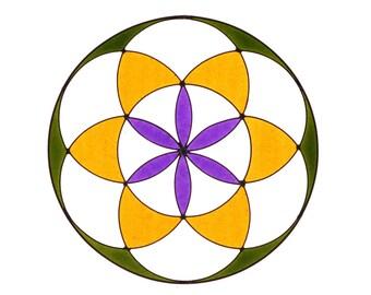 Seed of Life hanging, Sacred geometry Suncatcher,  yoga mandala decor, flower of life
