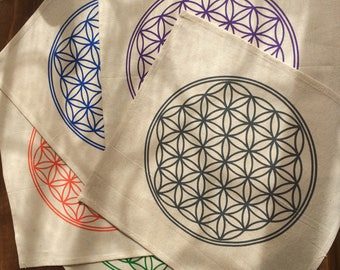 Crystal grid cloth sacred geometry flower of life healing cotton