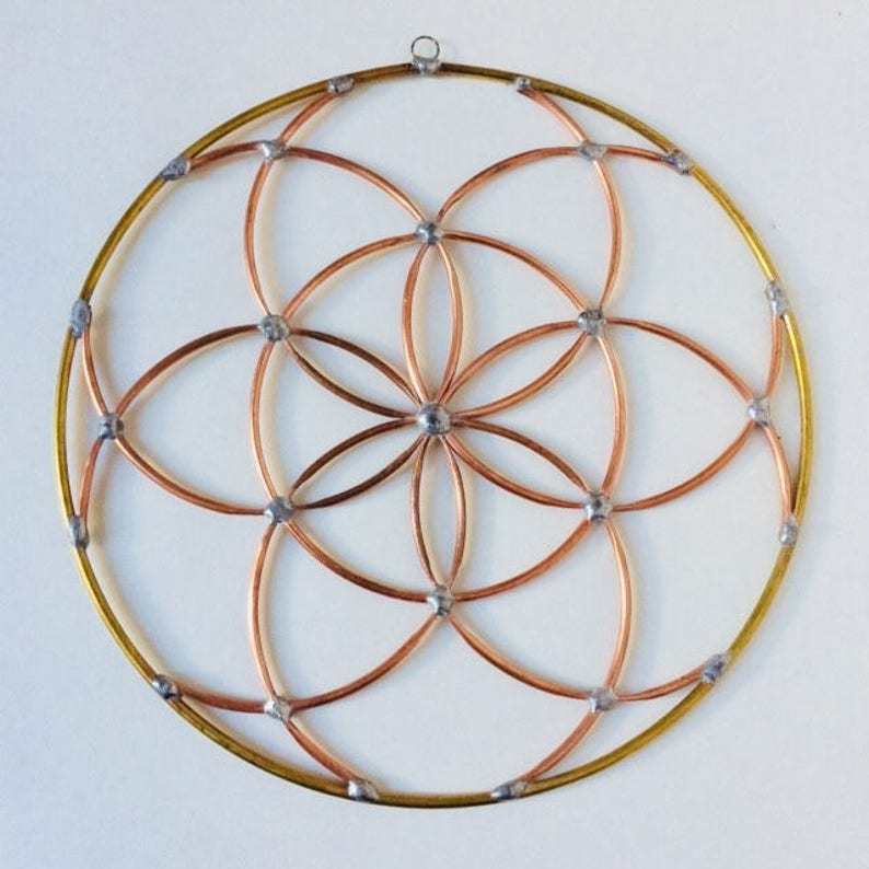Seed of life sacred geometry copper stained mobil room meditation altar  yoga decor