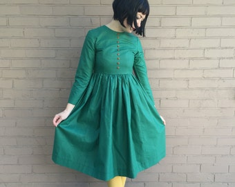 1950's Style Adorable Vintage Handmade Dress - Green Striped Cotton Day Dress - Size XS Extra Small 1950s 50s 50's Long Sleeve Fit & Flare