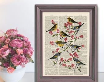 Birds on Blossom Tree Upcycled print on a vintage book page from a late 1800s Dictionary Buy 3 get 1 FREE