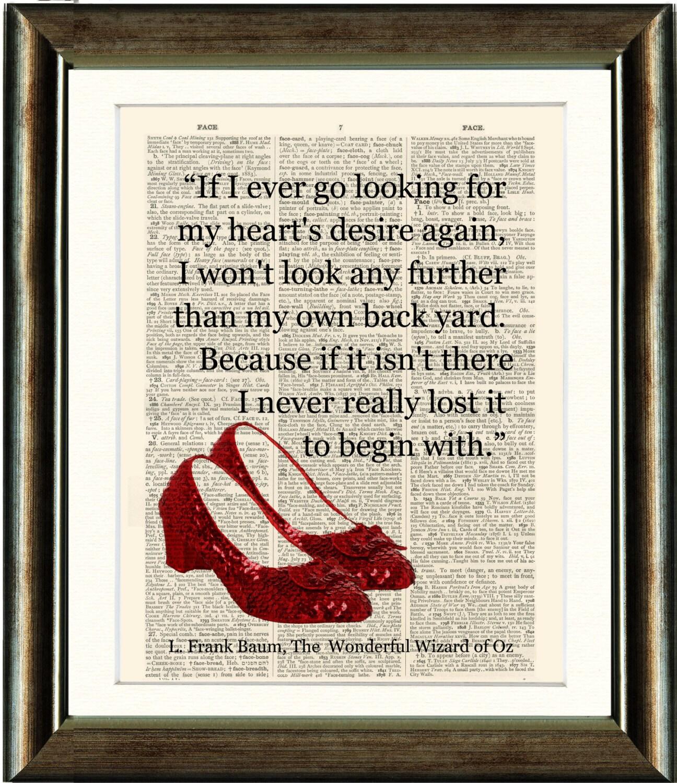 Citaten Hart Onder De Riem : Ruby slippers tovenaar van oz citaat hart vintage boek etsy