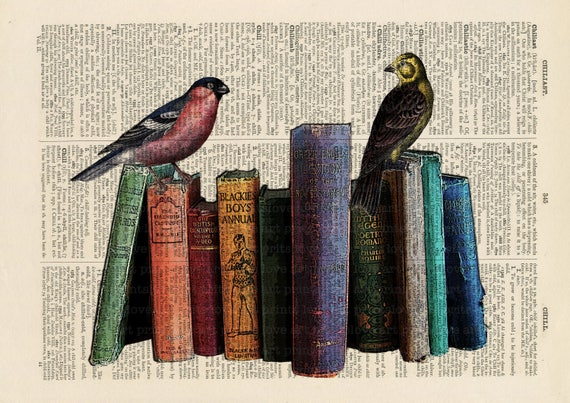 Antique Book page Art Print Vintage Birds /& Binoculars Dictionary print