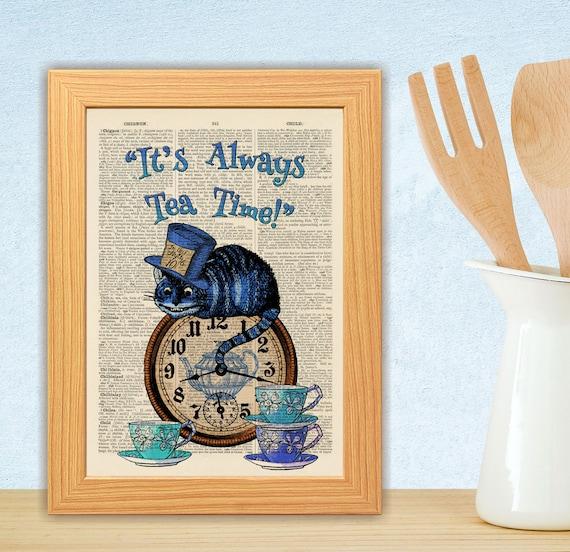 ANTIQUE BOOK PAGE NURSERY ART PRINT Cheshire Cat,Always Teatime Quote Orange