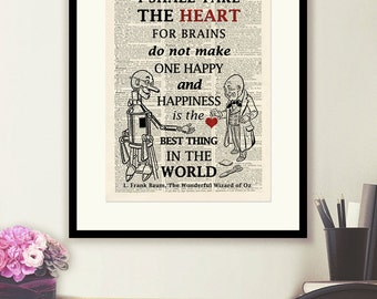Wizard of Oz Tin Man Heart Quote 2-vintage book page print image on a page from an Upcycled late 1800s Dictionary Buy 3 get 1 Free