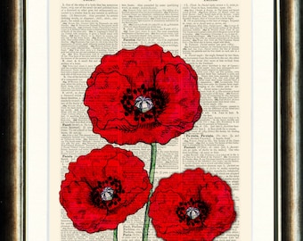 Poppies Upcycled print on a vintage book page from a late 1800s Dictionary Buy 3 get 1 FREE