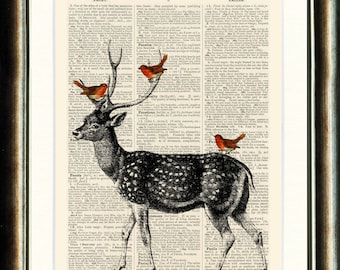 Vintage Illustration of a Deer with Red Robins  - vintage image printed on an Upcycled late 1800s Dictionary page Buy 3 get 1 FREE