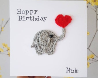 Handmade Elephant Birthday Card Personalised Anniversary Crochet Cute Love Greeting