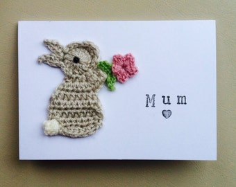 Personalised Handmade Mum Bunny Crochet Greeting Card Cute Birthday Mothers Day Easter